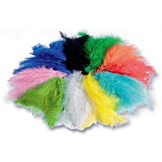 Flauschfedern, 100 g farbig sortiert