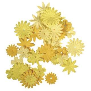 Papier-Blütenmischung, 1,5-2,5 cm, 4 Sorten, SB-Tube 36 Stück, Gelbtöne