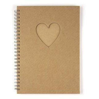 Notizbuch, mit Passepartoutstanzung,HF, Herz, DIN A5, 60 Blatt, 70 g/m2