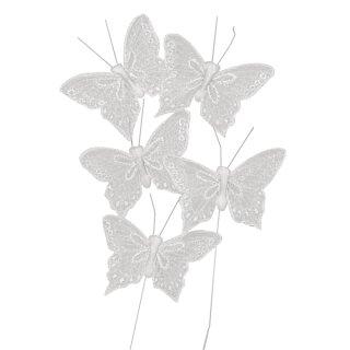 Glitter-Schmetterling, 5 cm, SB-Btl. 5 Stück, weiß