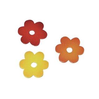 Holz Streuteile Blüten, 3cm, 3 Farben, SB-Btl 18Stück, gemischt