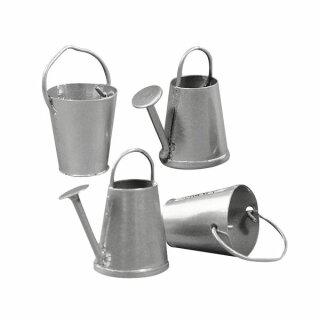 Metall-Gießkanne+Eimer, 2-3 cm, SB-Btl. 4 Stück, 2 Sorten