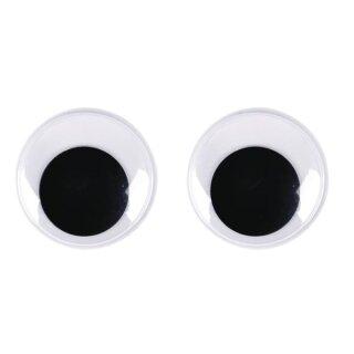 Plastik-Wackelaugen zum Kleben, SB-Btl. 8 Stück, schwarz/weiß, 35 mm ø