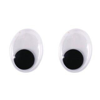 Plastik-Wackelaugen zum Kleben, SB-Btl. 10 Stück, oval, schwarz/weiß, ø 20 mm