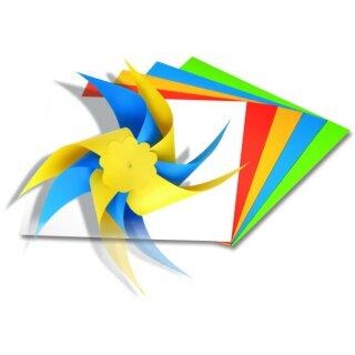 Windrad Faltblätter 20 x 20 cm 20 Blatt sortiert in 5 Farben