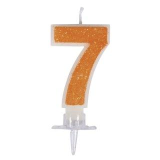 Zahlenkerze 7 mit Glitter und Halter, 10cm, SB-Blister 1Set, orange