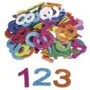 Moosgummi Zahlen mit Glitter, 100 Stück