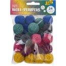 Woll Pompons Party, 24 Stück in 6 Farben sortiert