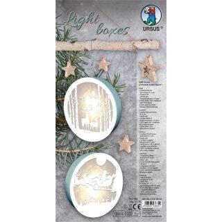 Bastelset Light Boxes Rentier und Nikolaus