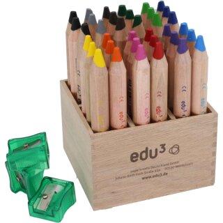 edu³ first Farbstifte Set 36 Stück in 6 Farben sortiert inkl. 3 Anspitzer