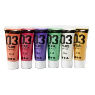 A-Color Acrylfarbe Metallic Pearl 6 x 20 ml sortiert