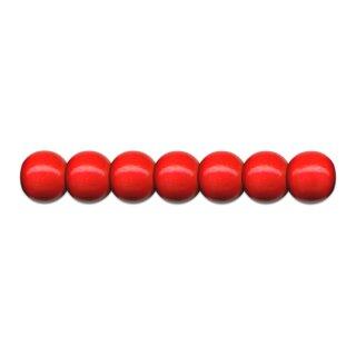 Holzperlen D: 10 mm rot 56 Stück, mit Lochbohrung