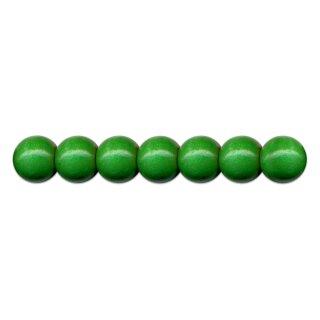 Holzperlen D: 10 mm dunkelgrün, 56 St. m. Lochbohrung