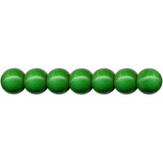 Holzperlen D: 12 mm dunkelgrün, 35 St. m. Lochbohrung