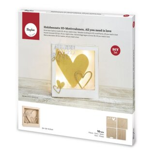 Holzbaus.3D-Motivrahmen,FSCMixCred., 24x24x6,3cm, All.Love16-tlg., Box 1Set, natur