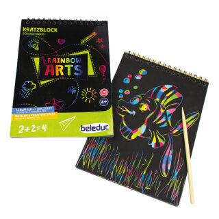 Kratzblock Rainbow Arts inkl. Holzstift