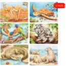 Minipuzzle Australische Tiere, 36 Stück in 6 Motive...