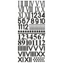 Klebeschrift Uhrenziffern, 10x23cm, schwarz