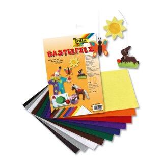 Bastelfilz, 20 x 30 cm, 10 Bogen in 10 Farben sortiert