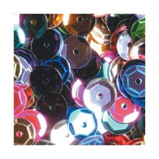 Pailletten bunt D: 6 mm rund 40 g = ca. 4000 Stück gewölbt