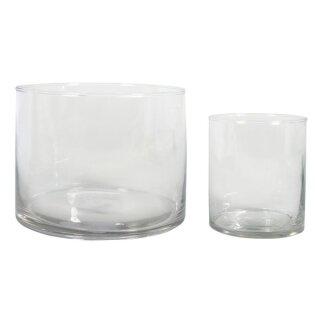 Glas Gefäße Set, ø8x10cm + ø15x12cm, Karton 1Set