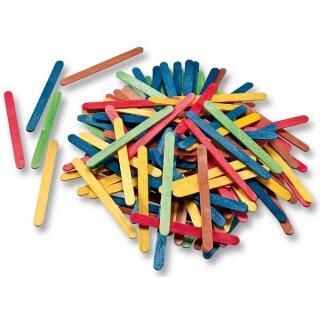 Bastelhölzer aus Holz, flach 114 x 10 x 2 mm, 500 Stück, farbig sortiert