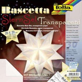 Bastelset Bascettastern weiß, 20 x 20 cm, 30 Blatt