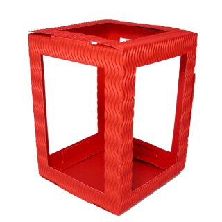 Laterne 3D Wellpappe rot 13,5 x 13,5 cm