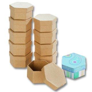 Pappboxen 10 Stück natur, Sechseck ca. 7,5 x 6,5 x 4 cm