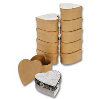 Pappboxen 10 Stück natur, Herz ca. 8 x 7,5 x 4 cm