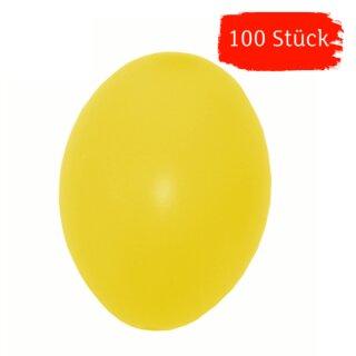 Plastik-Eier, Kunststoffeier, Ostereier,  gelb 60 mm, 100 Stück