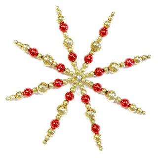 Bastelset Perlensterne gold / rot für 10 Sterne D: 11 cm