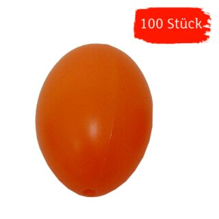 Plastik-Eier, Kunststoffeier, Ostereier,  orange 60 mm, 100 Stück