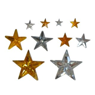 Schmucksteine Sterne gold und silber sortiert 2000 Stück