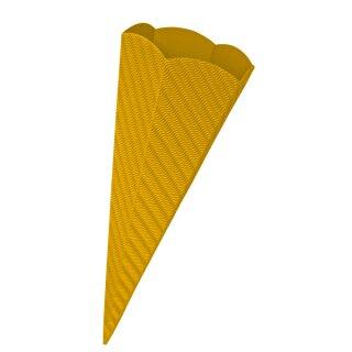 Schultütenrohling aus 3D Wellpappe gelb, h: 68 cm