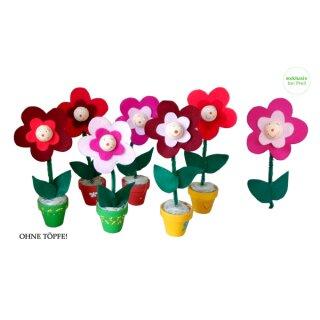 Bastelset Filzblumen 30 Stück, D: 10 cm, ca. 22 cm hoch