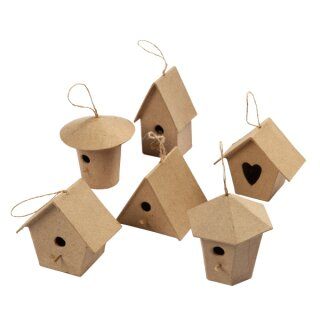 Pappmaché Mini Vogelhäuser H: ca. 7 cm, 6 Stück sortiert