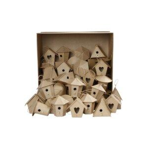 Pappmaché Mini Vogelhäuser H: ca. 7 cm, 60 Stück sortiert