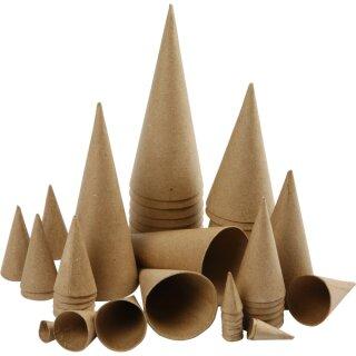 Pappmaché Kegel Sortiment 50 Stück H: 4 - 20 cm
