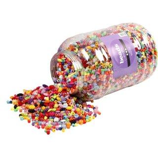 Großpackung Kunststoffperlen in versch. Farben und Formen ca. 6 - 20 mm, 3000 g