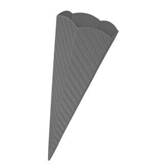Schultütenrohling aus 3D Wellpappe grau, h: 68 cm