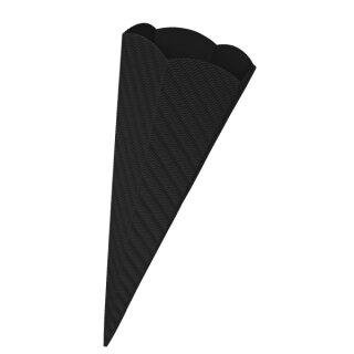 Schultütenrohling aus 3D Wellpappe schwarz, h: 68 cm