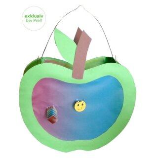 Laternen Bastelset Apfel mit Wurm, 4 Stück