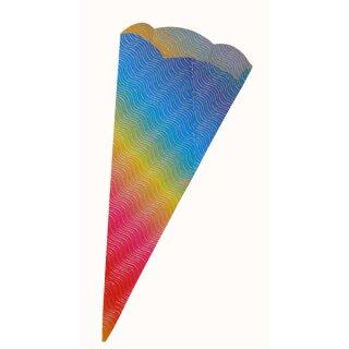 Schultütenrohling aus 3D Wellpappe regenbogen, h: 68 cm