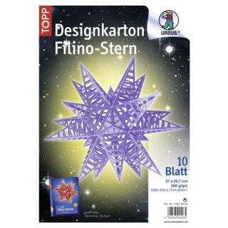Designkarton Filino Stern, Starlight lavendel, 10 Blatt DIN A4