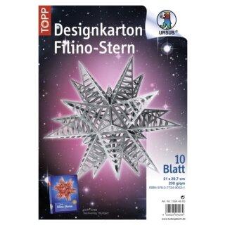 Designkarton Filino Stern, Shining paper silber, 10 Blatt DIN A4