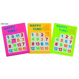 Schiebepuzzle 7,2 x 9,2 cm 24er Set in 3 Farben sort.