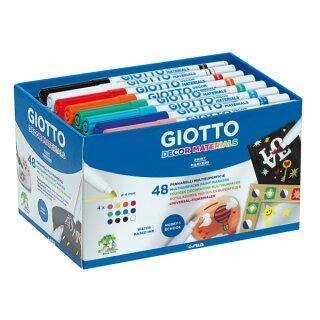 Giotto Decor Materials Fasermaler, Schulpackung mit 48 Stiften in 12 Farben sort.