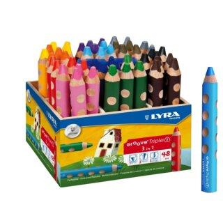 Lyra Groove Triple 1 Farbstift 48 Stifte in 12 Farben sort. im Holzaufsteller