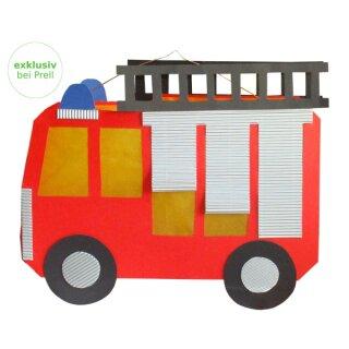 Laternen Bastelset Feuerwehrauto, 4 Stück
